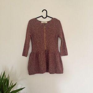 new // zara • metallic knit peplum zip sweater
